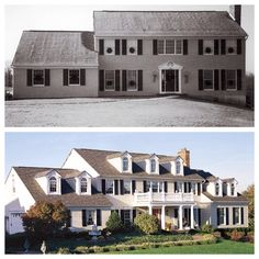 Curb appeal before and after home.  Add dormers, a porch, and a balcony for added interest and dimension.