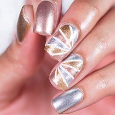 """Imani Morgan on Instagram: """"Hi guys! Here's some new nailart! I meant to have this up yesterday, but I just forgot to post it..lol But I'm back to my mixed metals and oh how I've missed them! I decided on a kind of sunburst? type of design that was inspired by @bri1703 I love how they came out! Tutorial will be up later. Hope you guys like them! """""""