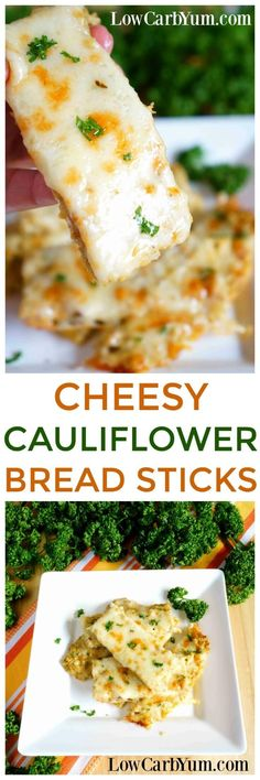 Using the same idea as pizza crust, it's easy to make a low carb cheesy cauliflower breadsticks recipe instead. Simply leave out the pizza sauce! | LowCarbYum.com #ketogenic_diet_pizza
