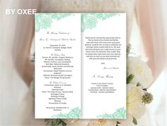 Printable Wedding ceremony program template Vintage Mint by Oxee, $5.00