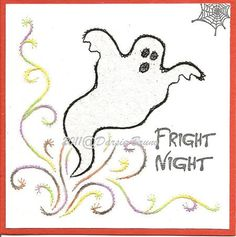 Halloween Ghost Paper Embroidery Pattern for Greeting by Darse, $1.50