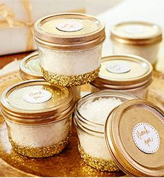 DIY Gold glittered favor jars http://rstyle.me/n/wg54rnyg6
