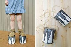 lattine-gioco / DIY tin-can stilts Fun Crafts, Diy And Crafts, Crafts For Kids, Craft Activities For Kids, Projects For Kids, Babysitting Activities, Play Activity, Babysitting Fun, Craft Ideas