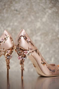 The Eden Eve Pump in Light Pink Satin with Rose Gold Leaves - is part of an…