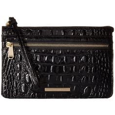 Brahmin Winnie Wristlet (Black) ($125) ❤ liked on Polyvore featuring bags, handbags, clutches, evening handbags, wristlet clutches, zippered tote bag, special occasion handbags and handbag tote