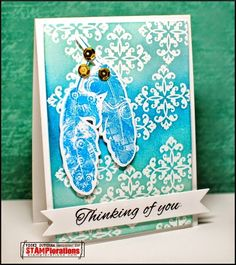 Card by Vicki using Vignette: Trendy Feathers and Vignette: Art Deco Border Builders