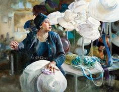New Year. Milliner, Atlanta, Georgia by Mary Whyte, watercolor painting, 2009, 22 1/2 x 29.