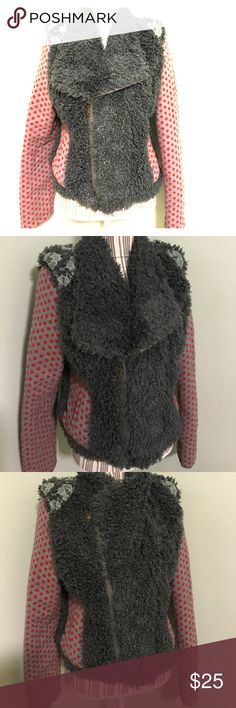 """One of a Kind Jacket! Reposh! Don't like the fit 😭 it is soooo cute though and so unique! Size L. Measurements upon request. Long sleeves """"wooly/fuzzy """"fur"""""""" long sleeves, lined. Zips up, can partially zip, or all the way- shown in both pics. Cute lace crochet detail on the shoulders with polka dot sleeves! A sure style statement! From a clean and smoke free home! Toss me an offer! Farinelli Jackets & Coats"""