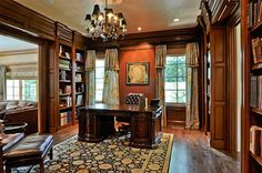 The perfect traditional study or library. Love everything except the carpet.