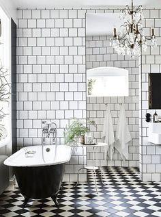 black and white tiled bathroom - Black And White Bathroom Tile Ideas