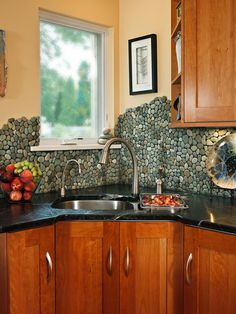 Stone: River Rock - 30 Splashy Kitchen Backsplashes on HGTV