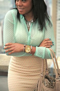 Mint shirt, nude skirt with green polka dots
