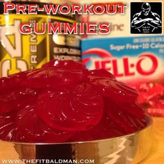 Pre-workout Gummies: 1 package (.30 OZ) sugar free JELL-O 3 envelopes (21.6g total) unflavored gelatin 4 scoops fruit punch Cellucor C4 pre-workout 1/2 cup ice cold water Candy molds 36 total