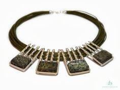 "Andreea Bololoi Jewelry: ""Rainforest"" Necklace #necklace #geometric #silverplated #wire #wirework #handmade #contemporaryjewelry #green #gemstones #thread #cotton Wire Jewelry, Jewelry Necklaces, Bracelets, Silver Plate, Green Gemstones, Handmade, Inspiration, Cotton, Self"