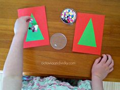 Easy Peasy Kid Made Christmas Tree Cards {Octavia and Vicky}