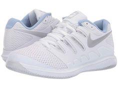Nike Air Zoom Vapor X Women's Tennis Shoes White/Metallic Silver/Pure Platinum Platform Tennis Shoes, Slip On Tennis Shoes, Tennis Shoes Outfit, Pumas Shoes, Nike Shoes, Adidas Sneakers, Nike Vapor, Air Zoom, Cheap Shoes