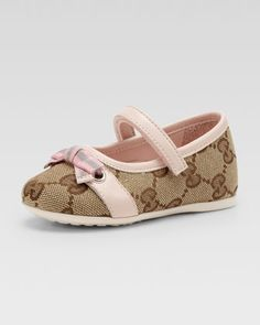Marilyn GG Canvas Mary Jane Ballerina, Beige Ebony/Pink by Gucci at  Bergdorf Goodman. Baby Girl ShoesKid ...