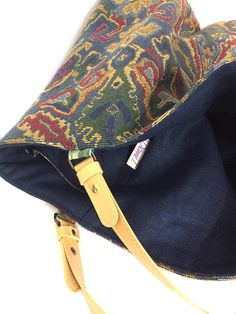 Extra large reversible tote bag tapestry linen and leather
