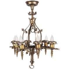1stdibs.com | Very Unusual Square Arts & Crafts Chandelier with Hammering