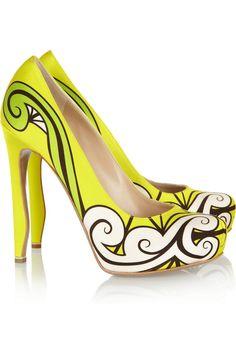 Nicholas Kirkwood Neon printed silk-satin pumps #wanteringstreetstyle