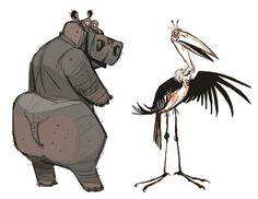 Hippopotamus Anatomy | Hippo and Marabou Stork