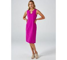 Ronni Nicole Sleeveless Scuba Crepe Dress with Keyhole - 177995 Qvc Uk, Ronni Nicole, Just Shop, Dresses For Work, Summer Dresses, Crepe Dress, Shopping, Fashion, Moda