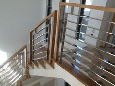Stallion Stainless 1300 765 885 Stainless Steel Balustrade with Timber Handrail Melbourne Wood Stair Handrail, Stainless Steel Stair Railing, Stair Railing Kits, Glass Railing System, Interior Stair Railing, Modern Stair Railing, Steel Handrail, Steel Stairs, Metal Railings