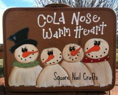 """Snowman art """"Cold nose, warm heart!"""" Square Nail Crafts"""