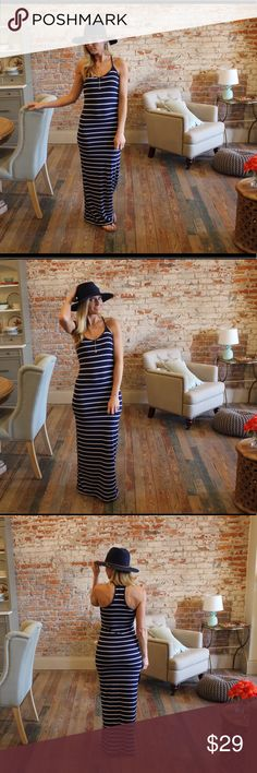 "Navy striped racerback maxi dress Modeling size small.  92% polyester 8% spandex.  Bust laying flat: S 15"" M 16"" L 17"" Length S 59"" M 60"" L 61"".  Add to bundle to save when purchasing.  CP5260414 Dresses Maxi"