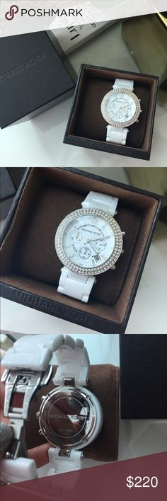 Michael Kors Ceramic Watch Ceramic white band, crystal lined face watch, beautiful with a dress, a suit, or casual brunch outfit. The perfect piece for every outfit. Only work a couple times. I'm brand new condition. One link has been taken out. Get this fast before it sells! Perfect for vacation and coming spring season!! Michael Kors Accessories Watches