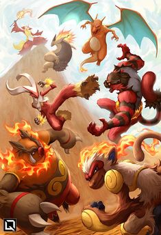 All current Fire starters final evolutions.