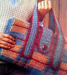 Vintage Crochet Take-Along-Afghan and Stadium Seat Pattern Afghan Crochet Patterns, Crochet Stitches, Knit Crochet, Crochet Handbags, Crochet Purses, Crochet Bags, Vintage Knitting, Vintage Crochet, Knitting Projects