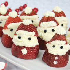 Looking a light bite to serve after a huge dinner?These strawberry Santa's take on a small amount of time to make and will quickly disappear off the plate.