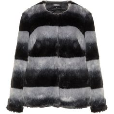 Carmakoma Grey / Black Plus Size Striped faux fur jacket (€115) ❤ liked on Polyvore featuring outerwear, jackets, grey, plus size, collarless jackets, gray jacket, grey faux fur jacket, grey jacket and gray faux fur jacket