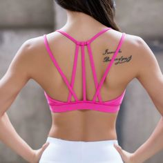 da04fdac3c43b Hot pink Crisscross Sport Bras Top