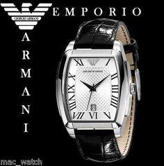 EMPORIO ARMANI Herren Uhr AR0933 Herrenuhr Schwarz Leder ORIGINAL NEU