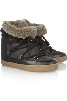 Isabel Marant|Nowles shearling-lined leather concealed wedge boots|NET-A-PORTER.COM