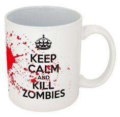 Amazon.com: Keep Calm and Kill Zombies-- Funny Coffee Mug!!-- Printed & Tested In The USA!! (11oz, White Kill Zombies): Home & Kitchen