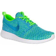 Nike Roshe One Flyknit Trainers ($140) ❤ liked on Polyvore featuring shoes, sneakers, waffle trainer, perforated shoes, neon shoes, nike trainers and flyknit trainer
