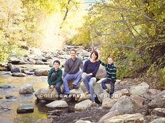 Salt Lake City Utah family photographer great family of four in the rocks by the creek Summer Family Portraits, Spring Family Pictures, Family Christmas Pictures, Family Photo Sessions, Fall Pictures, Family Posing, Family Pics, Fall Photos, Family Of Four