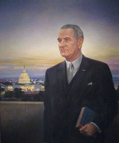 Portrait of Lyndon Johnson done by Peter Hurd, American painter and husband of Henriette Wyeth Hurd.