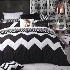 Logan and Mason MARLEY BLACK Chevron Queen Size Bed Doona Duvet Quilt Cover Set