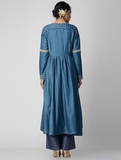 Blue Zari-embroidered Silk Cotton Kurta with Gathers Salwar Kurta, Anarkali, Pakistani Outfits, Indian Outfits, Kurta Neck Design, Anita Dongre, Indian Patterns, Indian Clothes, Kurta Designs