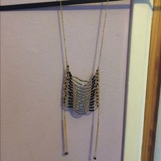 Beaded necklace Gold chain and detail, black, gold and grey-chrome beads. Instantly dresses up any look! Free People Jewelry Necklaces