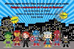 Convite Super Heróis Estilizado | Artes da Ana Personalizados Criativos | 2E7DE5 - Elo7