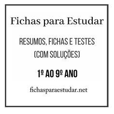 No Fichas para Estudar encontra resumos, fichas e testes de avaliação (muitos deles com soluções) de várias disciplinas, do 1º ao 9º ano. #fichasparaestudar #fichasdeestudo #fichasparaexercitar #exercicios #fichascomsolucoes #fichasetestes #fchas1ciclo #fichas1ano #fichas2ano #fichas3ano #fichas4ano #fichas5ano #fichas6ºano #fichas7ºano #fichas8ano #fichas9ano #testesparaestudar #resumosefichas #fichaseresumos