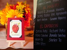 mexican loteria cards for wedding table numbers