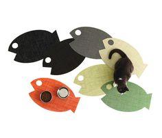 Chilewich Cat Mat $34.00. http://www.moderncat.net/2012/02/16/chilewich-fish-shaped-cat-mat/  Buy here: http://www.pawsco.com.au/Product-cat-mat-mango-by-chilewich-99.aspx