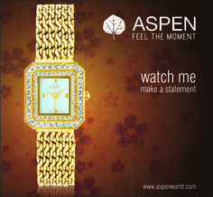 A watch with beautiful combination of chains and stones at ASPEN.