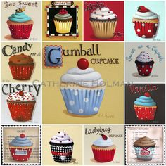 Cupcake Collage Red Print by catherineholman on Etsy, $16.95